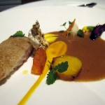 Piggvar - morotskräm, brynt smörsås, blomkål
